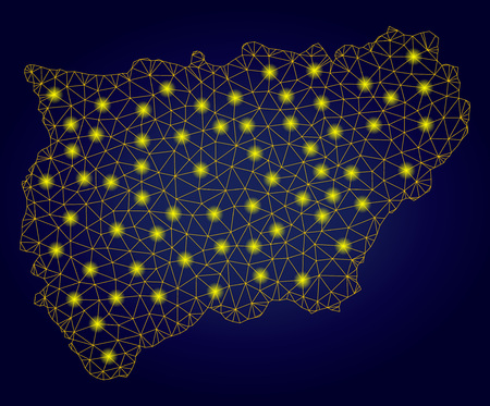 Yellow mesh vector Jaen Spanish Province map with glare effect on a dark blue gradiented background. Abstract lines, light spots and spheric points form Jaen Spanish Province map constellation. 일러스트