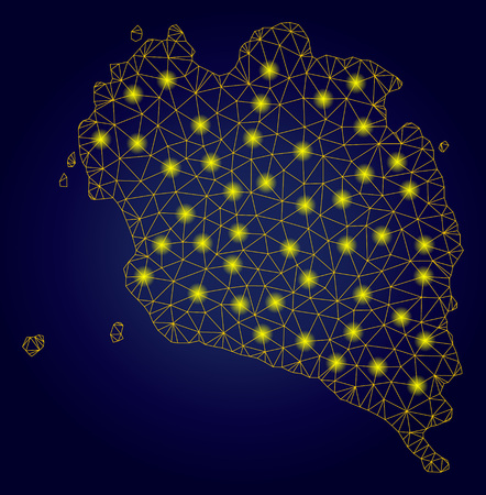 Yellow mesh vector Ko Pha Ngan map with glare effect on a dark blue gradiented background. Abstract lines, light spots and small circles form Ko Pha Ngan map constellation.