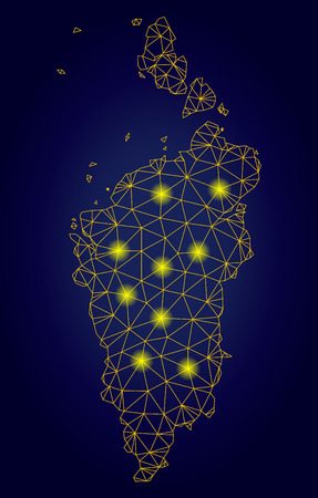 Yellow mesh vector Krasnoyarskiy Kray map with glare effect on a dark blue gradiented background. Abstract lines, light spots and circle dots form Krasnoyarskiy Kray map constellation.