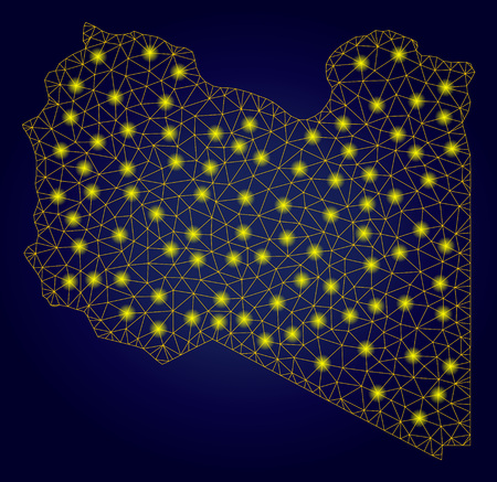 Yellow mesh vector Libya map with glare effect on a dark blue gradiented background. Abstract lines, light spots and spheric points form Libya map constellation.
