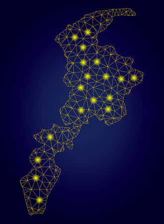 Yellow mesh vector Khyber Pakhtunkhwa Province map with glare effect on a dark blue gradiented background. Abstract lines, Stock Illustratie