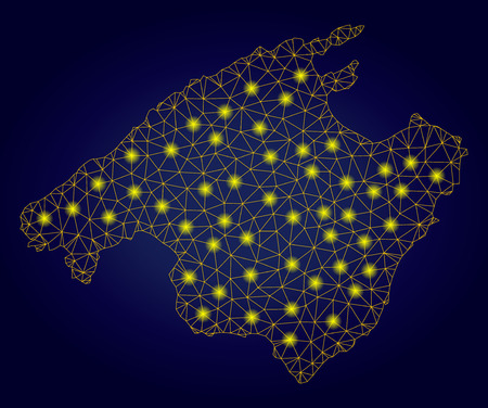 Yellow mesh vector Mallorca map with glare effect on a dark blue gradiented background. Abstract lines, light spots and spheric points form Mallorca map constellation.