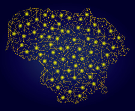 Yellow mesh vector Lithuania map with glare effect on a dark blue gradiented background. Abstract lines, light spots and spheric points form Lithuania map constellation.