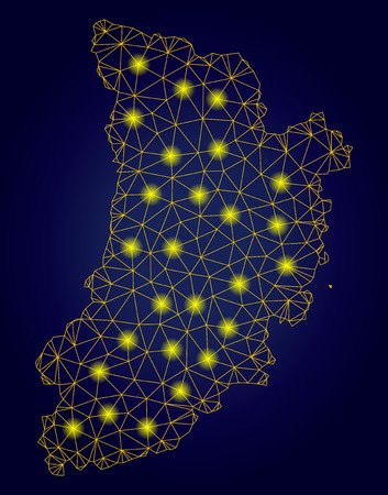 Yellow mesh vector Lleida Province map with glare effect on a dark blue gradiented background. Abstract lines, light spots and points form Lleida Province map constellation. Stock Illustratie