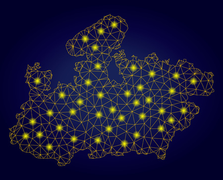 Yellow mesh vector Madhya Pradesh State map with glare effect on a dark blue gradiented background. Abstract lines, light spots and spheric points form Madhya Pradesh State map constellation.