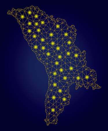 Yellow mesh vector Moldova map with glare effect on a dark blue gradiented background. Abstract lines, light spots and spheric points form Moldova map constellation.