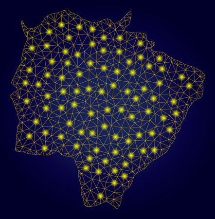 Yellow mesh vector Mato Grosso do Sul State map with glare effect on a dark blue gradiented background. Abstract lines, light spots and circle dots form Mato Grosso do Sul State map constellation.