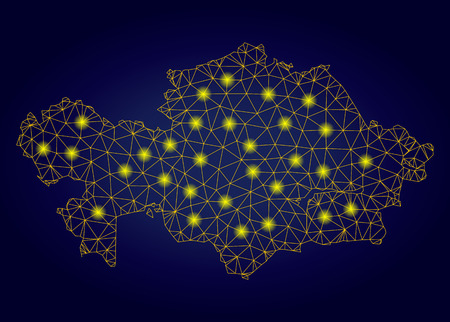 Yellow mesh vector Kazakhstan map with flare effect on a dark blue gradiented background. Abstract lines, light spots and points form Kazakhstan map constellation.