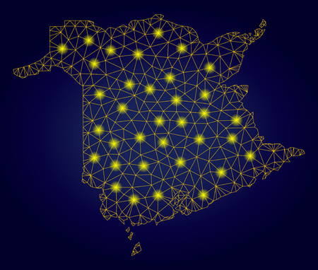 Yellow mesh vector New Brunswick Province map with glare effect on a dark blue gradiented background. Abstract lines, light spots and small circles form New Brunswick Province map constellation. Stock Illustratie
