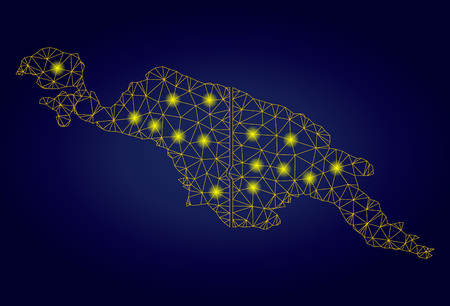 Yellow mesh vector New Guinea countries map with glare effect on a dark blue gradiented background. Abstract lines, light spots and points form New Guinea countries map constellation.