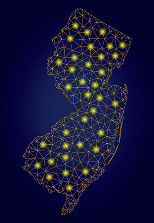 Yellow mesh vector New Jersey State map with glow effect on a dark blue gradiented background. Abstract lines, light spots and points form New Jersey State map constellation.