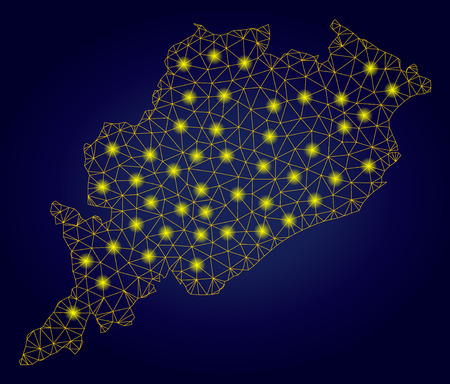Yellow mesh vector Odisha State map with flare effect on a dark blue gradiented background. Abstract lines, light spots and small circles form Odisha State map constellation.