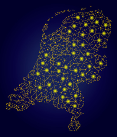 Yellow mesh vector Netherlands map with glare effect on a dark blue gradiented background. Abstract lines, light spots and circle dots form Netherlands map constellation.