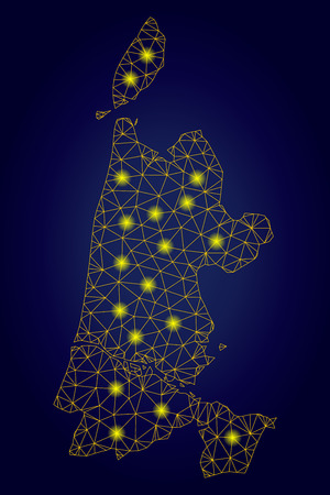 Yellow mesh vector North Holland map with glitter effect on a dark blue gradiented background. Abstract lines, light spots and dots form North Holland map constellation. Illustration