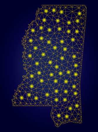 Yellow mesh vector Mississippi State map with flare effect on a dark blue gradiented background. Abstract lines, light spots and dots form Mississippi State map constellation.