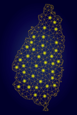 Yellow mesh vector Saint Lucia Island map with glare effect on a dark blue gradiented background. Abstract lines, light spots and points form Saint Lucia Island map constellation.