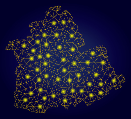 Yellow mesh vector Sevilla Province map with glitter effect on a dark blue gradiented background. Abstract lines, light spots and dots form Sevilla Province map constellation. Иллюстрация