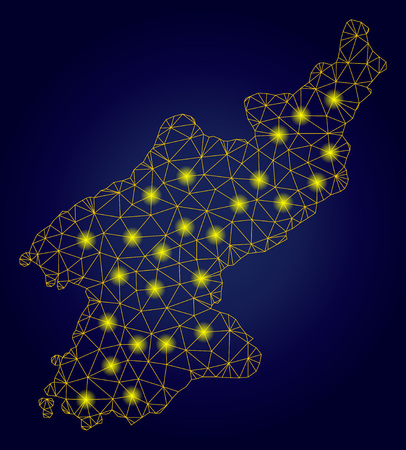 Yellow mesh vector North Korea map with glow effect on a dark blue gradiented background. Abstract lines, light spots and dots form North Korea map constellation.