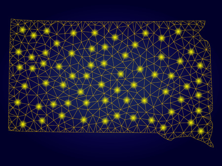 Yellow mesh vector South Dakota State map with glare effect on a dark blue gradiented background. Abstract lines, light spots and points form South Dakota State map constellation.