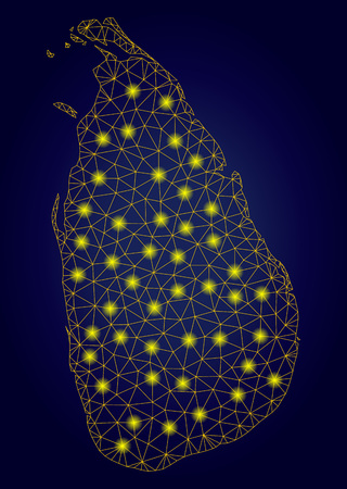 Yellow mesh vector Sri Lanka Island map with glare effect on a dark blue gradiented background. Abstract lines, light spots and circle dots form Sri Lanka Island map constellation. 版權商用圖片 - 122050638