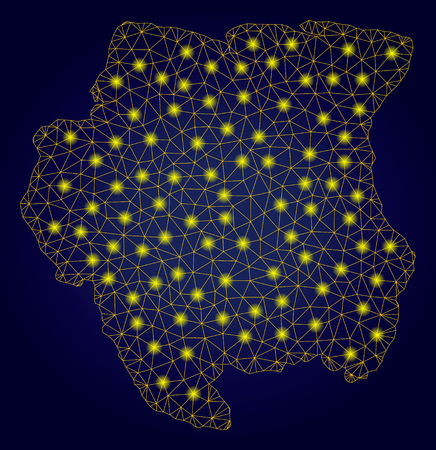 Yellow mesh vector Suriname map with glitter effect on a dark blue gradiented background. Abstract lines, light spots and circle dots form Suriname map constellation.