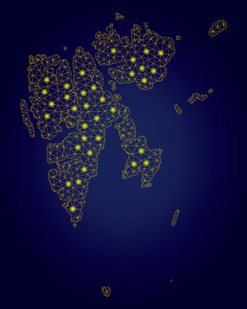 Yellow mesh vector Svalbard Island map with glare effect on a dark blue gradiented background. Abstract lines, light spots and points form Svalbard Island map constellation.