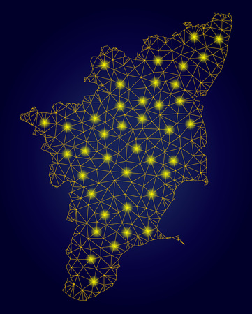 Yellow mesh vector Tamil Nadu State map with glare effect on a dark blue gradiented background. Abstract lines, light spots and spheric points form Tamil Nadu State map constellation.