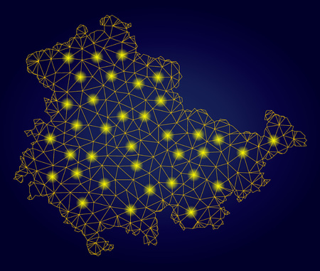 Yellow mesh vector Thuringia Land map with glow effect on a dark blue gradiented background. Abstract lines, light spots and spheric points form Thuringia Land map constellation. Stock Illustratie