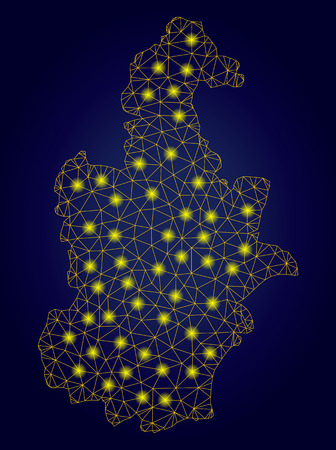 Yellow mesh vector Tianjin City map with glitter effect on a dark blue gradiented background. Abstract lines, light spots and small circles form Tianjin City map constellation. Stock Illustratie
