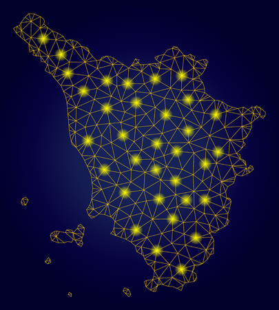 Yellow mesh vector Tuscany region map with glitter effect on a dark blue gradiented background. Abstract lines, light spots and circle dots form Tuscany region map constellation.