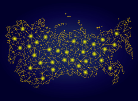 Yellow mesh vector USSR map with glare effect on a dark blue gradiented background. Abstract lines, light spots and small circles form USSR map constellation.
