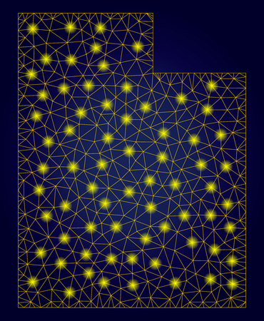Yellow mesh vector Utah State map with glare effect on a dark blue gradiented background. Abstract lines, light spots and small circles form Utah State map constellation.
