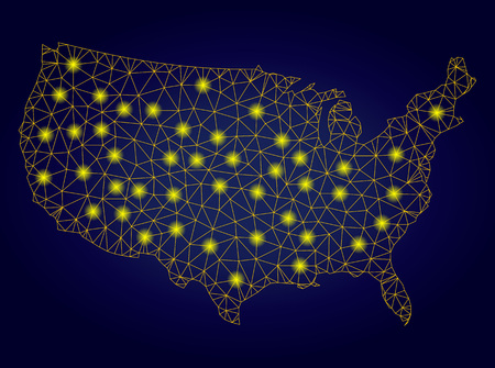 Yellow mesh vector United States map with glare effect on a dark blue gradiented background. Abstract lines, light spots and dots form United States map constellation.