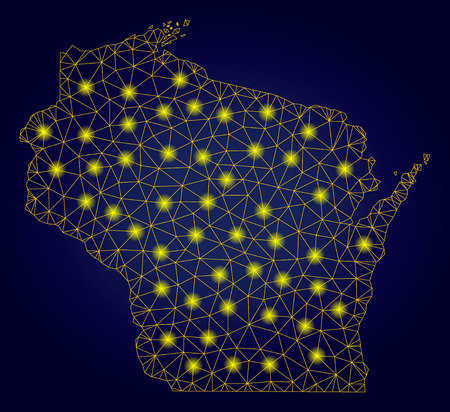 Yellow mesh vector Wisconsin State map with glare effect on a dark blue gradiented background. Abstract lines, light spots and circle dots form Wisconsin State map constellation. Ilustração