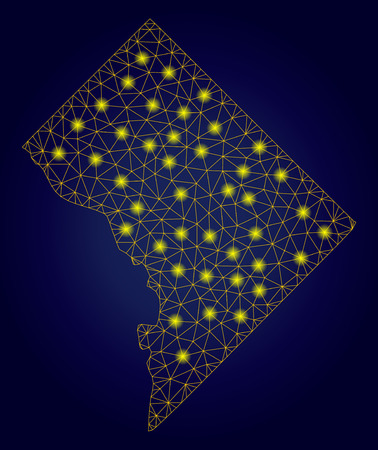 Yellow mesh vector Washington DC map with glare effect on a dark blue gradiented background. Abstract lines, light spots and points form Washington DC map constellation.