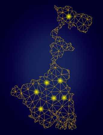 Yellow mesh vector West Bengal State map with glitter effect on a dark blue gradiented background. Abstract lines, light spots and spheric points form West Bengal State map constellation. Stock Illustratie
