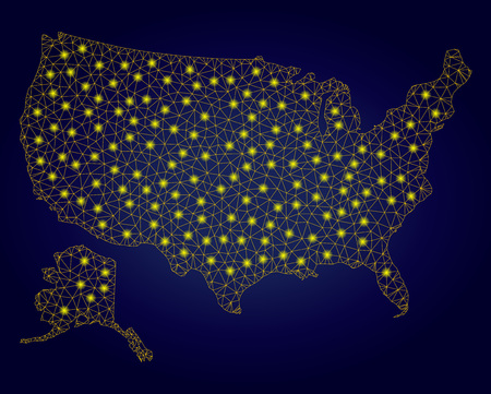 Yellow mesh vector USA with Alaska map with glare effect on a dark blue gradiented background. Abstract lines, light spots and small circles form USA with Alaska map constellation.