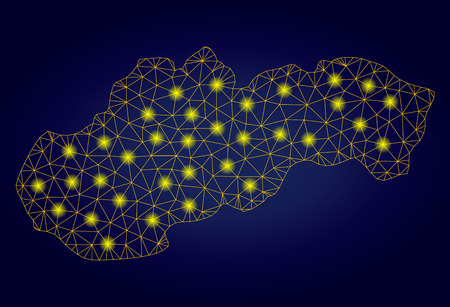 Yellow mesh vector Slovakia map with glitter effect on a dark blue gradiented background. Abstract lines, light spots and points form Slovakia map constellation.