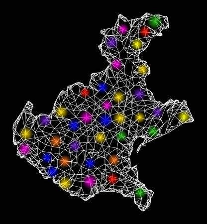 Web mesh vector map of Veneto region with glare effect on a black background. Abstract lines, light spots and small circles form map of Veneto region constellation.