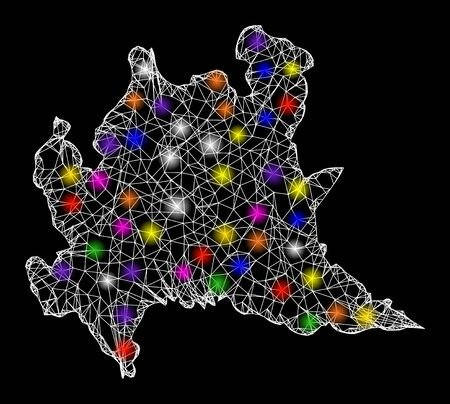 Web mesh vector map of Lombardy region with glitter effect on a black background. Abstract lines, light spots and points form map of Lombardy region constellation.