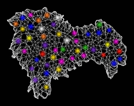 Web mesh vector map of Guadalajara Province with glare effect on a black background. Abstract lines, light spots and circle dots form map of Guadalajara Province constellation. Иллюстрация