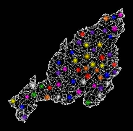 Web mesh vector map of Nagaland State with glare effect on a black background. Abstract lines, light spots and dots form map of Nagaland State constellation.