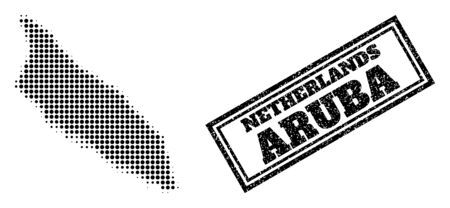 Halftone map of Aruba Island, and grunge seal stamp. Halftone map of Aruba Island designed with small black round dots. Vector seal with grunge style, double framed rectangle, in black color. Illustration