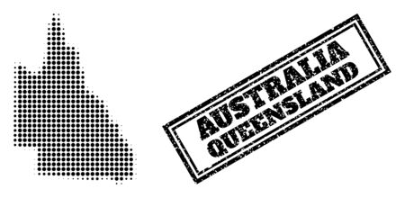 Halftone map of Australian Queensland, and grunge seal. Halftone map of Australian Queensland constructed with small black round pixels. Vector seal with scratched style, double framed rectangle,