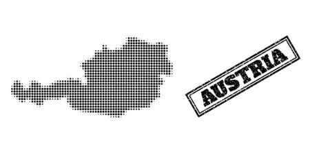 Halftone map of Austria, and scratched seal. Halftone map of Austria designed with small black circle items. Vector seal with scratched style, double framed rectangle, in black color.