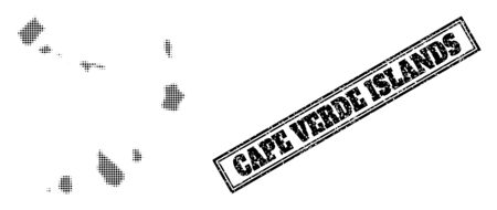 Halftone map of Cape Verde Islands, and grunge seal. Halftone map of Cape Verde Islands made with small black round points. Vector seal with grunge style, double framed rectangle, in black color. 向量圖像
