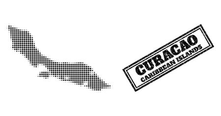 Halftone map of Curacao Island, and rubber seal. Halftone map of Curacao Island designed with small black round pixels. Vector seal with unclean style, double framed rectangle, in black color.