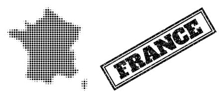 Halftone map of France, and rubber seal. Halftone map of France constructed with small black round pixels. Vector seal with scratched style, double framed rectangle, in black color.
