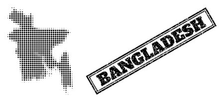 Halftone map of Bangladesh, and unclean watermark. Halftone map of Bangladesh designed with small black round items. Vector watermark with scratched style, double framed rectangle, in black color.