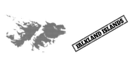 Halftone map of Falkland Islands, and rubber seal. Halftone map of Falkland Islands made with small black spheric elements. Vector seal with grunge style, double framed rectangle, in black color. 向量圖像